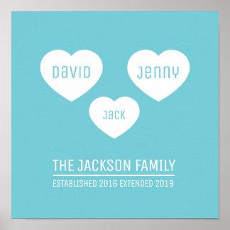 Os corações da família 3 personalizaram o poster