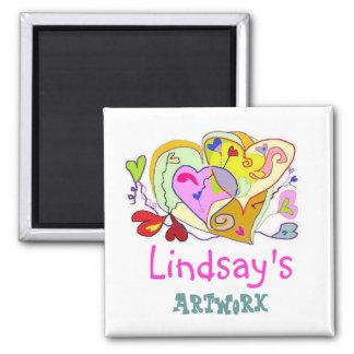 Os corações da menina personalizaram o ímã dos ímã quadrado