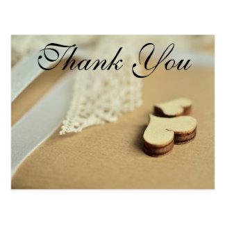 Os corações e atam cartões de agradecimentos de | cartão postal