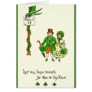 Os corações irlandeses retros sejam cartão do dia