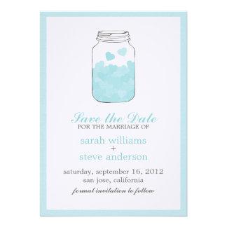 Os corações no casamento do frasco de pedreiro do convites personalizados