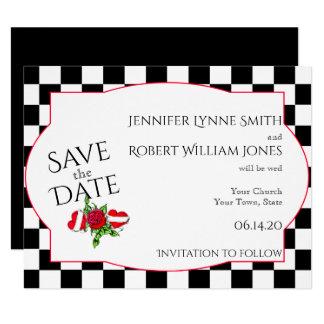 Os corações Rockabilly e o casamento cor-de-rosa Convite 10.79 X 13.97cm