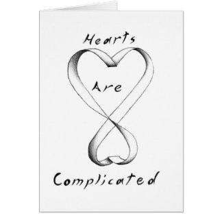 Os corações são complicados cartão comemorativo