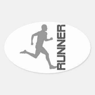 Os corredores dividem a etiqueta oval adesivo oval