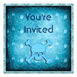 Os crânios azuis, o brilho preto & as jóias azuis convites personalizado