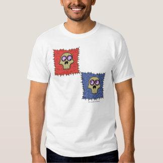 Os crânios engraçados na arte dos desenhos camiseta