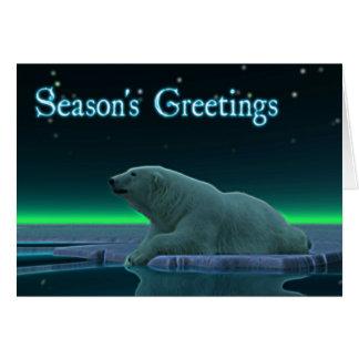Os cumprimentos da estação - urso polar da borda cartões