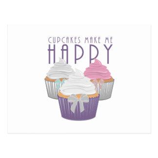 Os cupcakes fazem-me feliz cartão postal