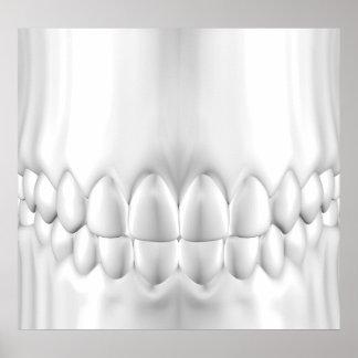 Os dentes brancos aperfeiçoam o poster da oclusão