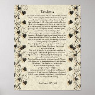"""Os Desiderata """"desejaram coisas"""", prosa no pergami Posters"""