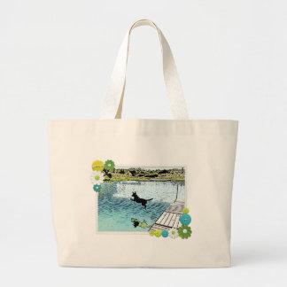 Os dias de cão do verão no lago sacola tote jumbo