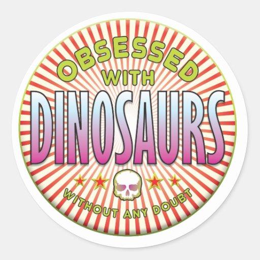 Os dinossauros obcecaram R Adesivos Em Formato Redondos