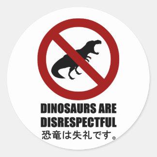 Os dinossauros são irreverentes adesivos em formato redondos