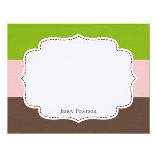 Os doces listram o cartão liso de /Note dos cartõe Convites Personalizado