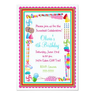Os doces polvilham convites do aniversário