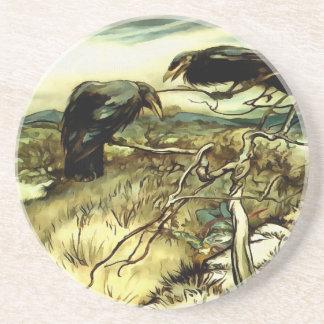 Os dois corvos porta-copos de arenito