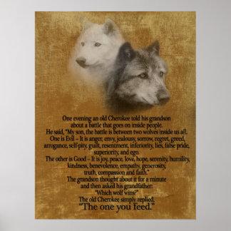 Os dois lobos, provérbio Cherokee Pôster
