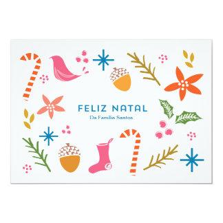 Os Doodles do festivo de Cartão fazem Feliz natal Convite 12.7 X 17.78cm
