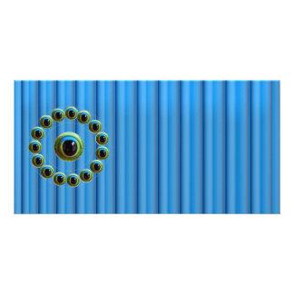 Os dragões azuis de brilho de Ros de cortina n Eye Cartão Com Foto