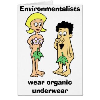 Os ecologistas vestem o cartão orgânico do roupa