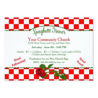 Os espaguetes italianos jantam Invitaton - Convite 12.7 X 17.78cm
