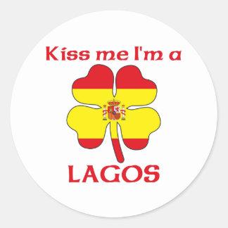 Os espanhóis personalizados beijam-me que eu sou adesivos redondos