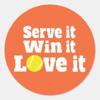 Os esportes do tênis servir-lo vitória ele amor adesivo