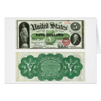 Os Estados Unidos $5 séries da cédula de 1863 Cartão Comemorativo
