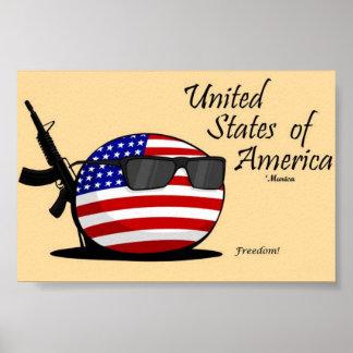 Os Estados Unidos da América (EUA) Countryball Pôster