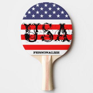 Os EUA patrióticos sibilam a pá do pong com Raquete De Ping-pong