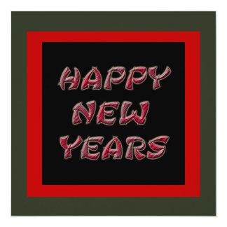os felizes anos novos vermelhos convite quadrado 13.35 x 13.35cm