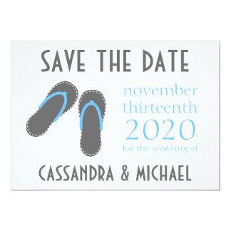 Os flip-flops salvar as datas (cinzentas/azuis convite 12.7 x 17.78cm