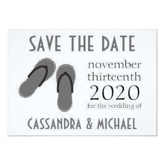 Os flip-flops salvar as datas (preto/cinzas) convite 12.7 x 17.78cm