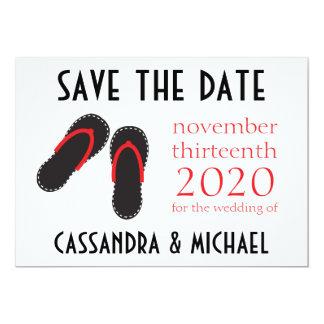 Os flip-flops salvar as datas (preto/vermelho) convite 12.7 x 17.78cm