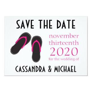 Os flip-flops salvar as datas (rosa quente/preto) convite 12.7 x 17.78cm