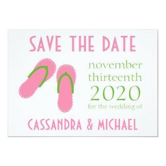 Os flip-flops salvar as datas (rosa/verde pálido) convite 12.7 x 17.78cm