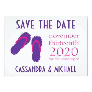 Os flip-flops salvar as datas (roxas/rosa magenta) convite 12.7 x 17.78cm