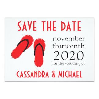Os flip-flops salvar as datas (vermelho/preto) convite 12.7 x 17.78cm