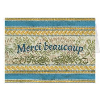 Os franceses agradecem-lhe, tecido bordado cartão