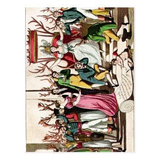 Os franceses coloridos satirical do sumário A impr Cartões Postais