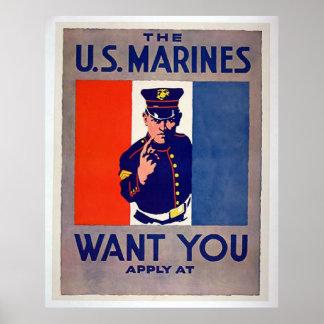 Os FUZILEIROS NAVAIS dos E.U. querem-no Poster