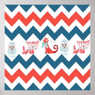 Os gatos bonitos Chevron coral azul do gatinho lis Posters