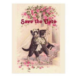 Cartão Postal Os gatos do casamento vintage salvar o cartão da