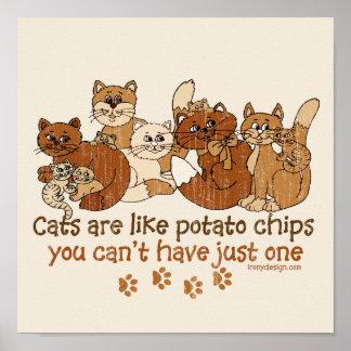 Os gatos são como microplaquetas de batata poster