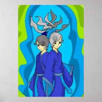 Os Gêmeos da astrologia juntam o poster da arte da Pôster