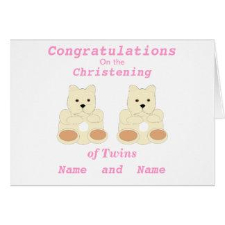 Os gêmeos do batismo dos parabéns adicionam a cartão comemorativo
