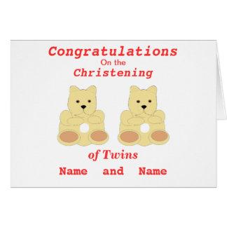 Os gêmeos do batismo dos parabéns adicionam nomes cartão comemorativo