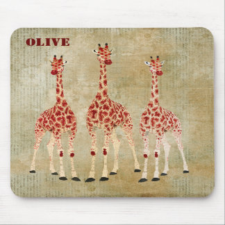 Os girafas da rosa vermelha personalizaram Mousepa Mousepads