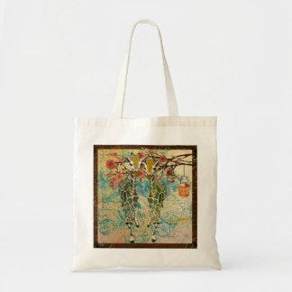 Os girafas do ouro cheiram o saco dos rosas sacola tote budget