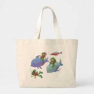 Os gnomos da ilustração dos desenhos animados e bolsa tote grande
